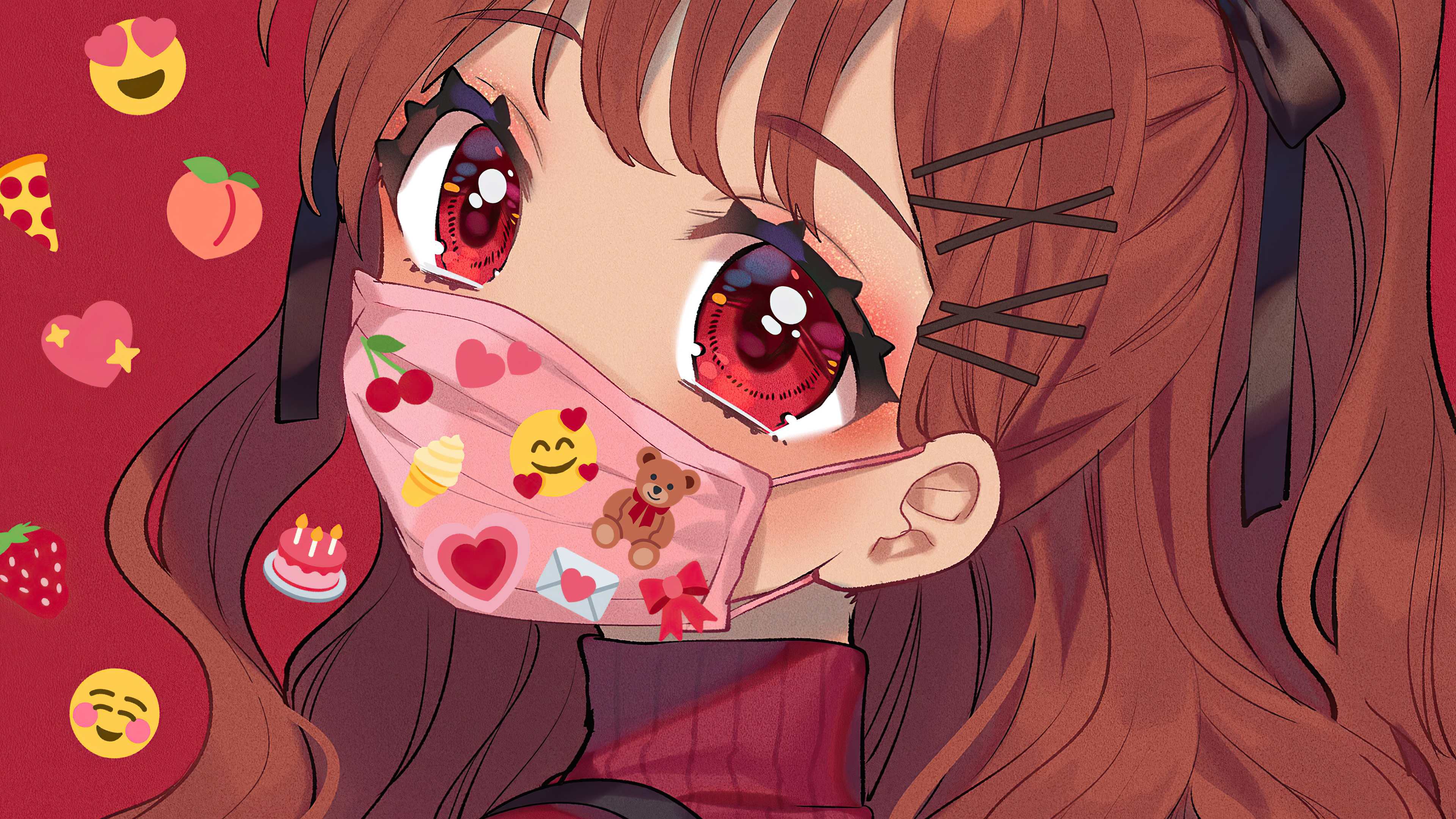 2560x1080 Anime Girl Big Eyes Tattoo Mask 2560x1080 ...