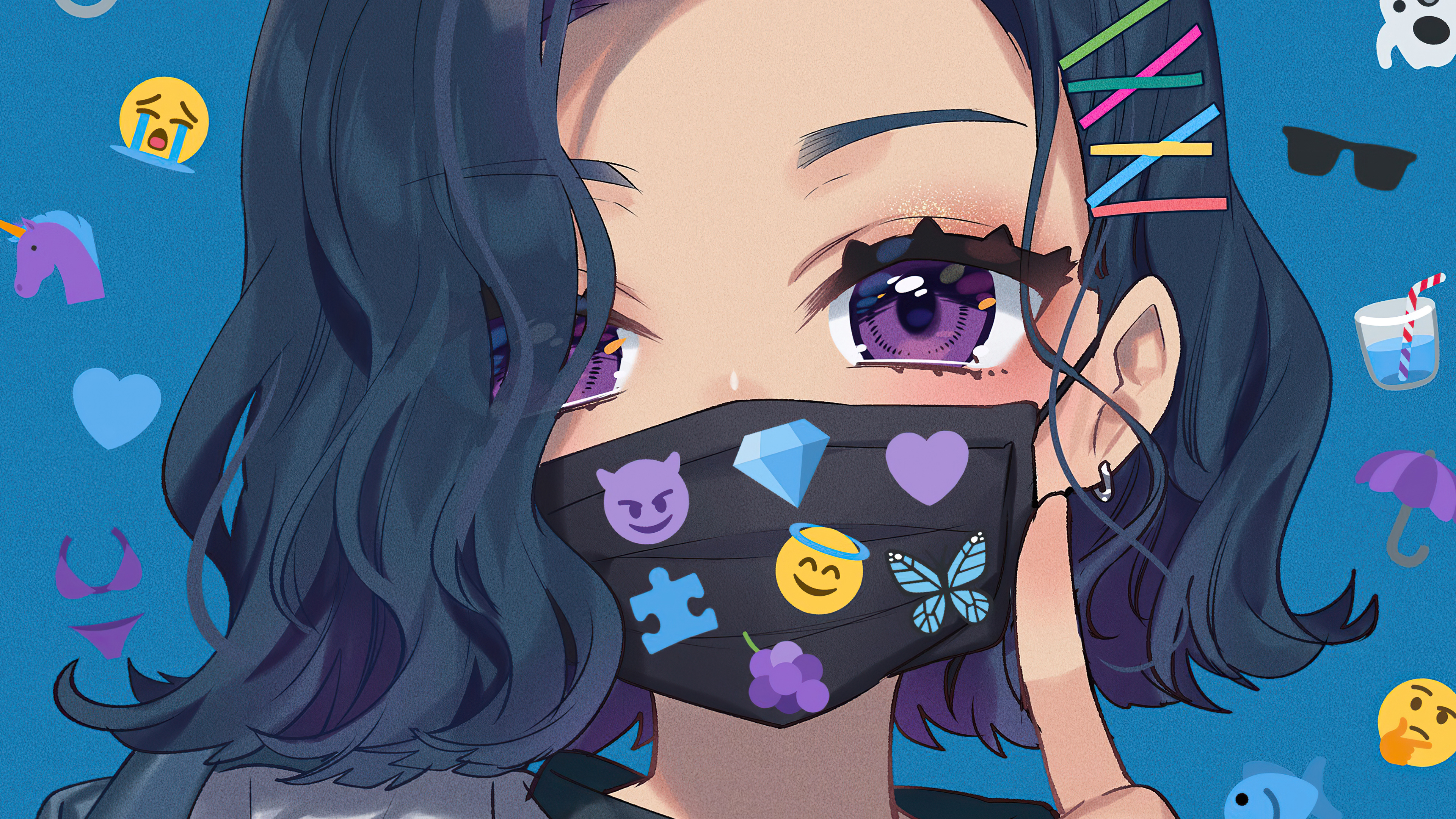 Anime Girl Big Eyes Tattoo Mask 4k Hd Anime 4k Wallpapers