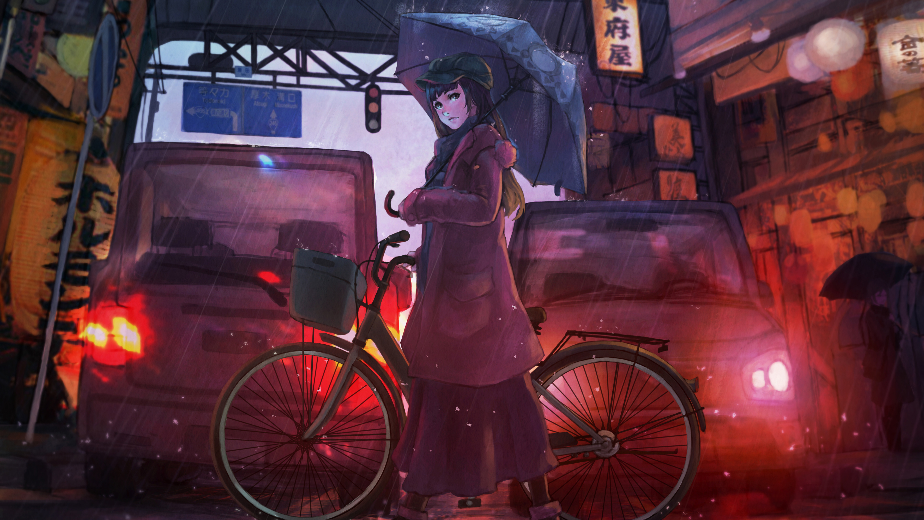 Anime Girl Cyle Rain Umbrella Hd Anime 4k Wallpapers Images Backgrounds Photos And Pictures