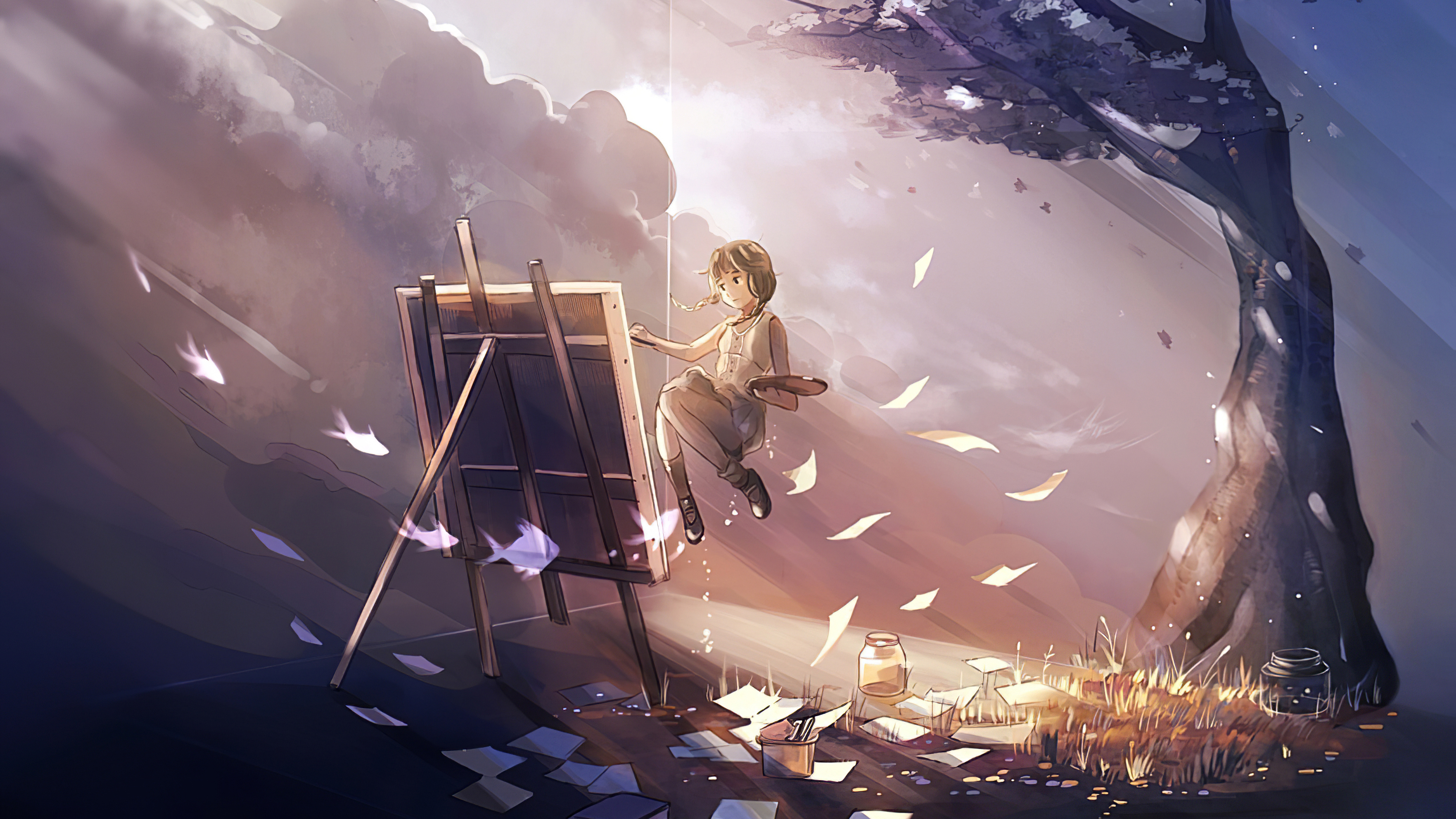 Anime Girl Doing Painting Magical 4k Hd Anime 4k Wallpapers
