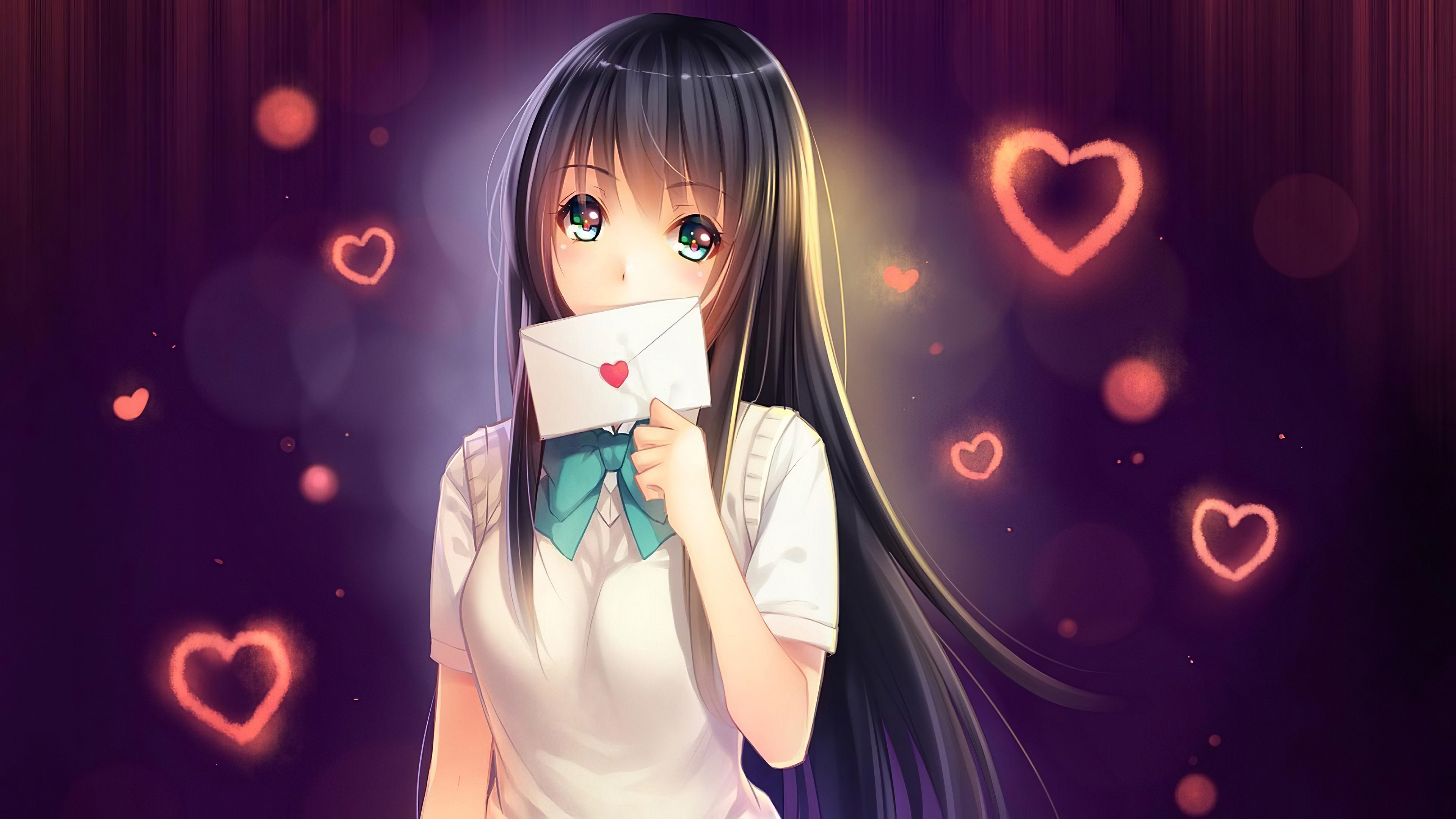 Anime Girl In Love With Love Letter, HD Anime, 8k Wallpapers