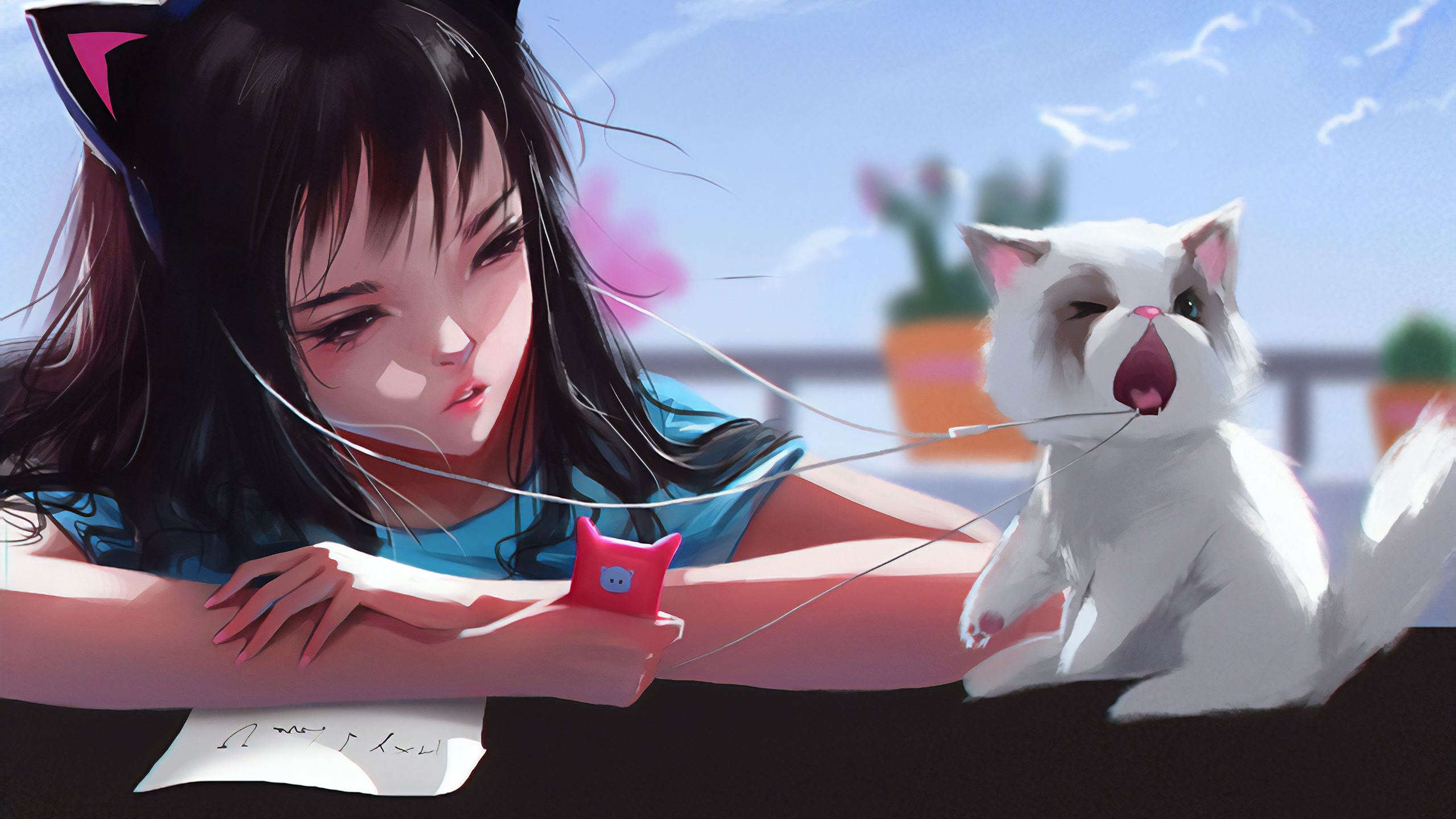 Anime Girl With Cat Pulling Back Her Headphones Hd Anime 4k Wallpapers Images Backgrounds Photos And Pictures