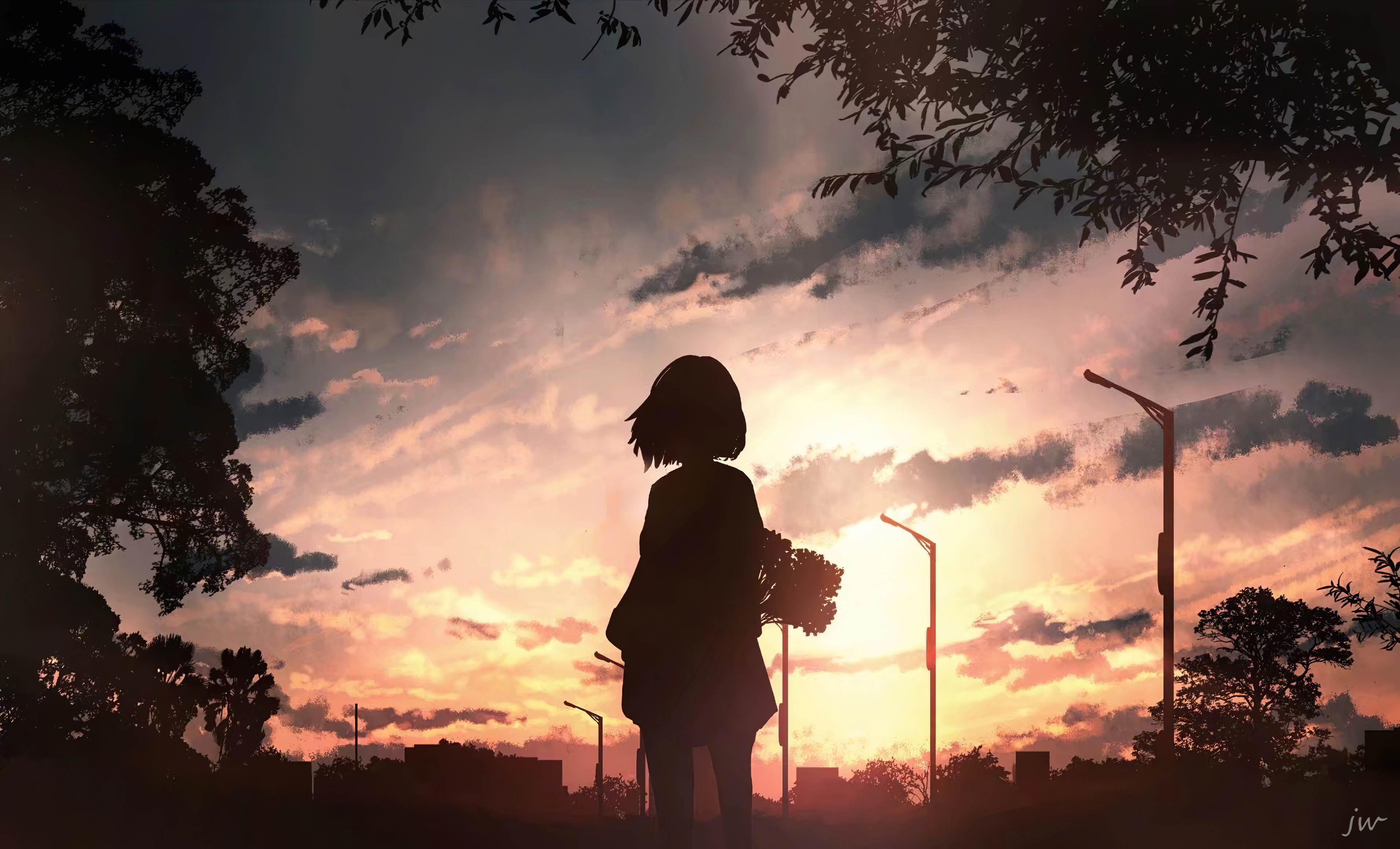 anime girl with flowers looking towards sunset 2j