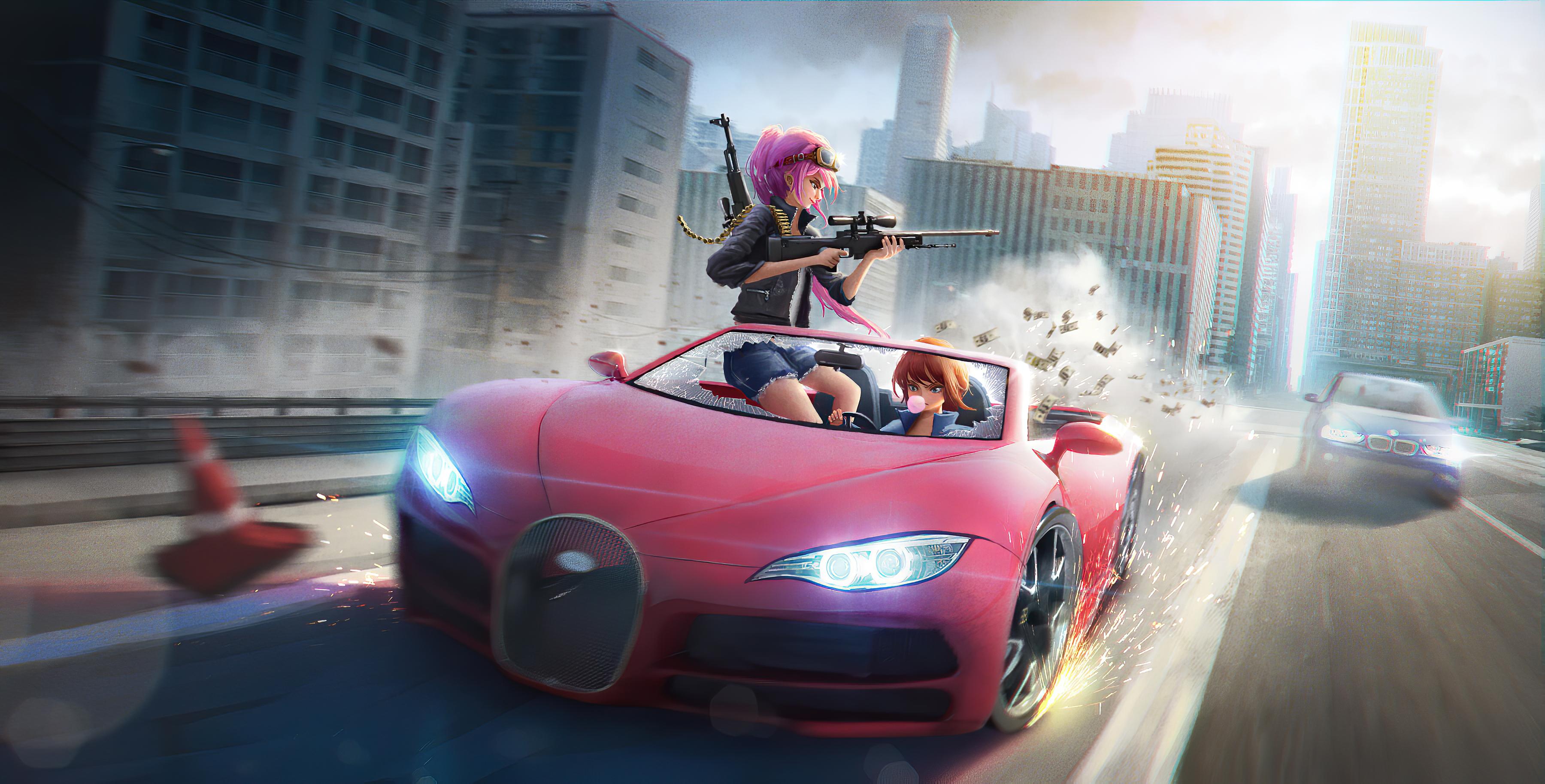1920x1080 Anime Girls Car Chase 4k Laptop Full HD 1080P HD ...