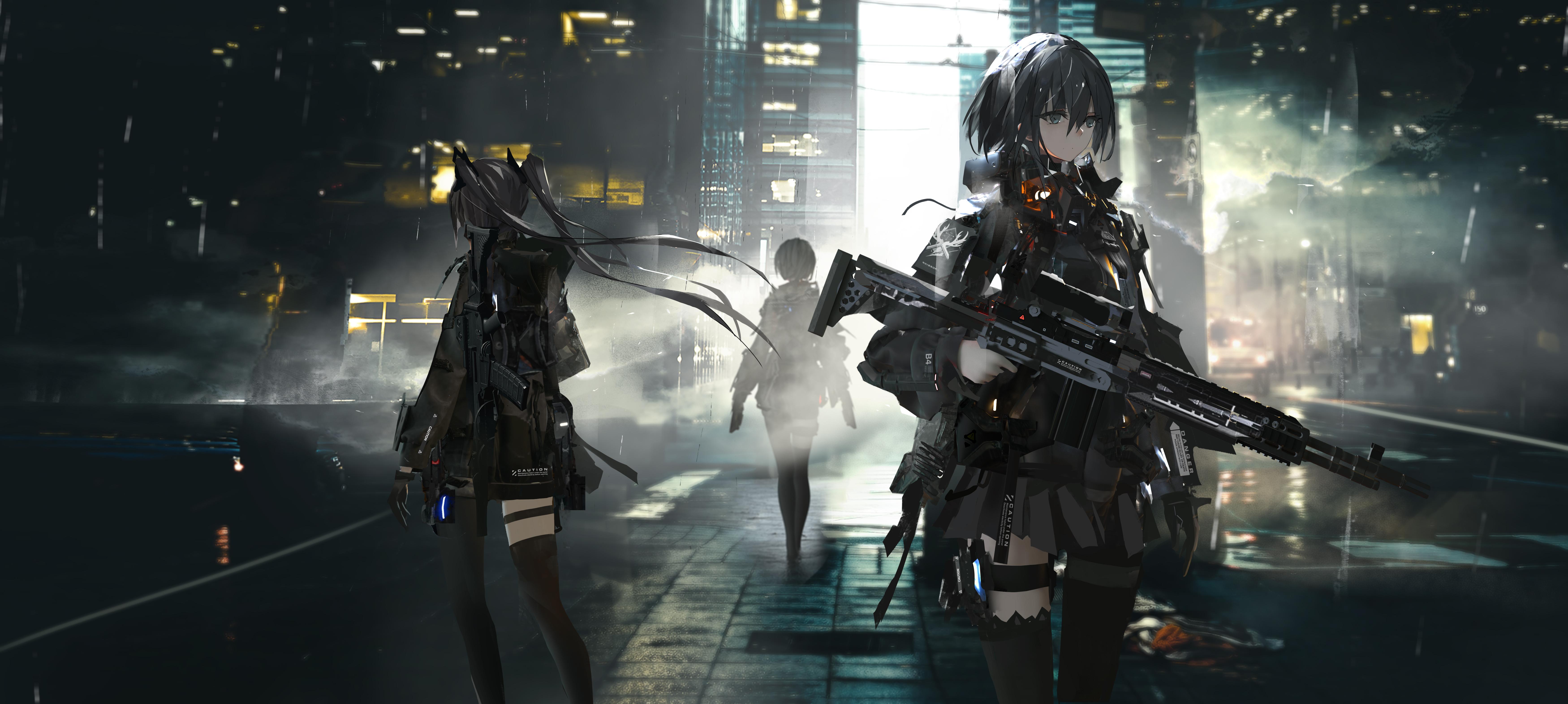 Anime Girls With Big Guns 10k, HD Anime, 10k Wallpapers, Images