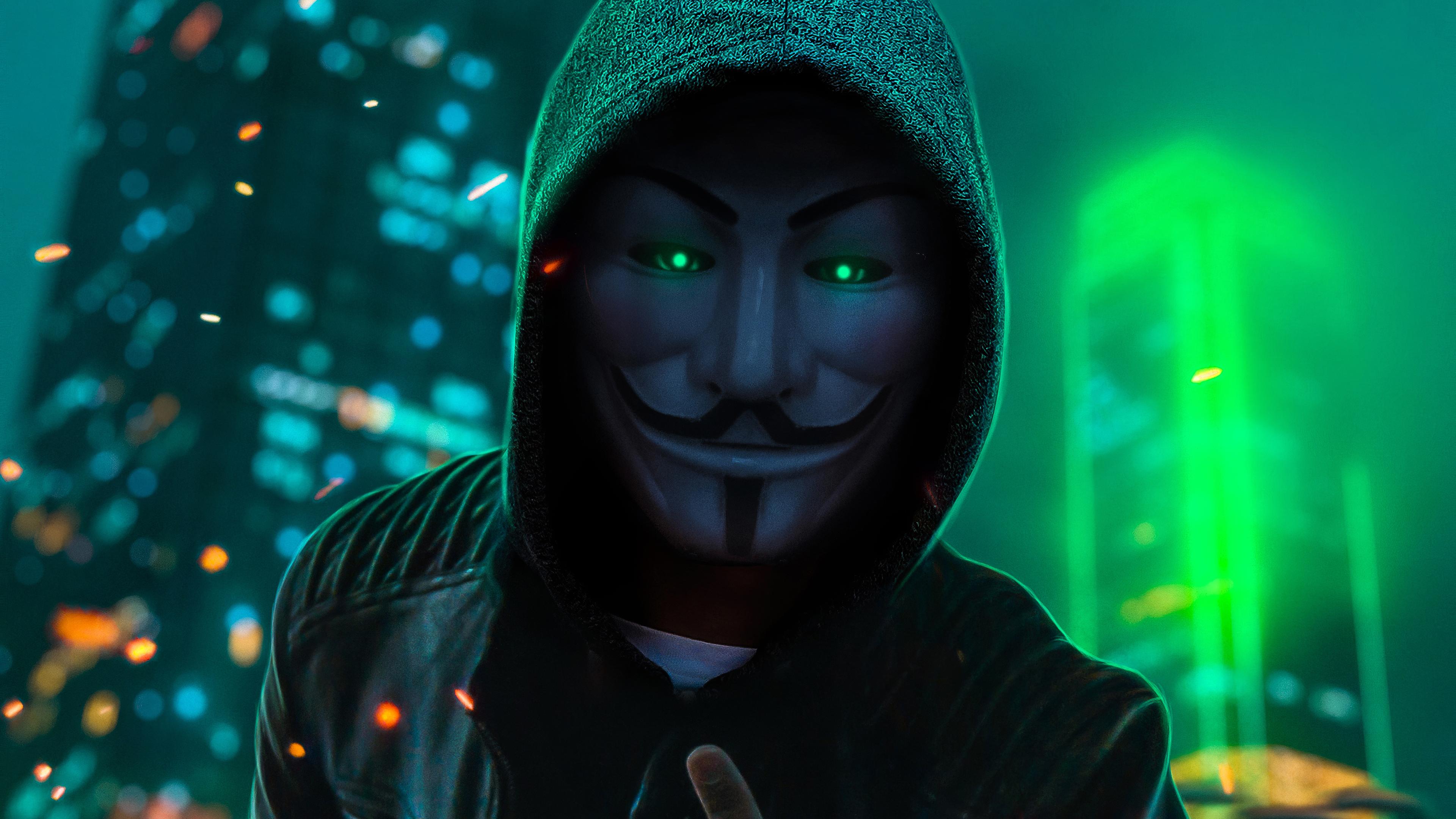 2932x2932 Anonymus Guy Glowing Eyes Green Neon 4k Ipad Pro Retina