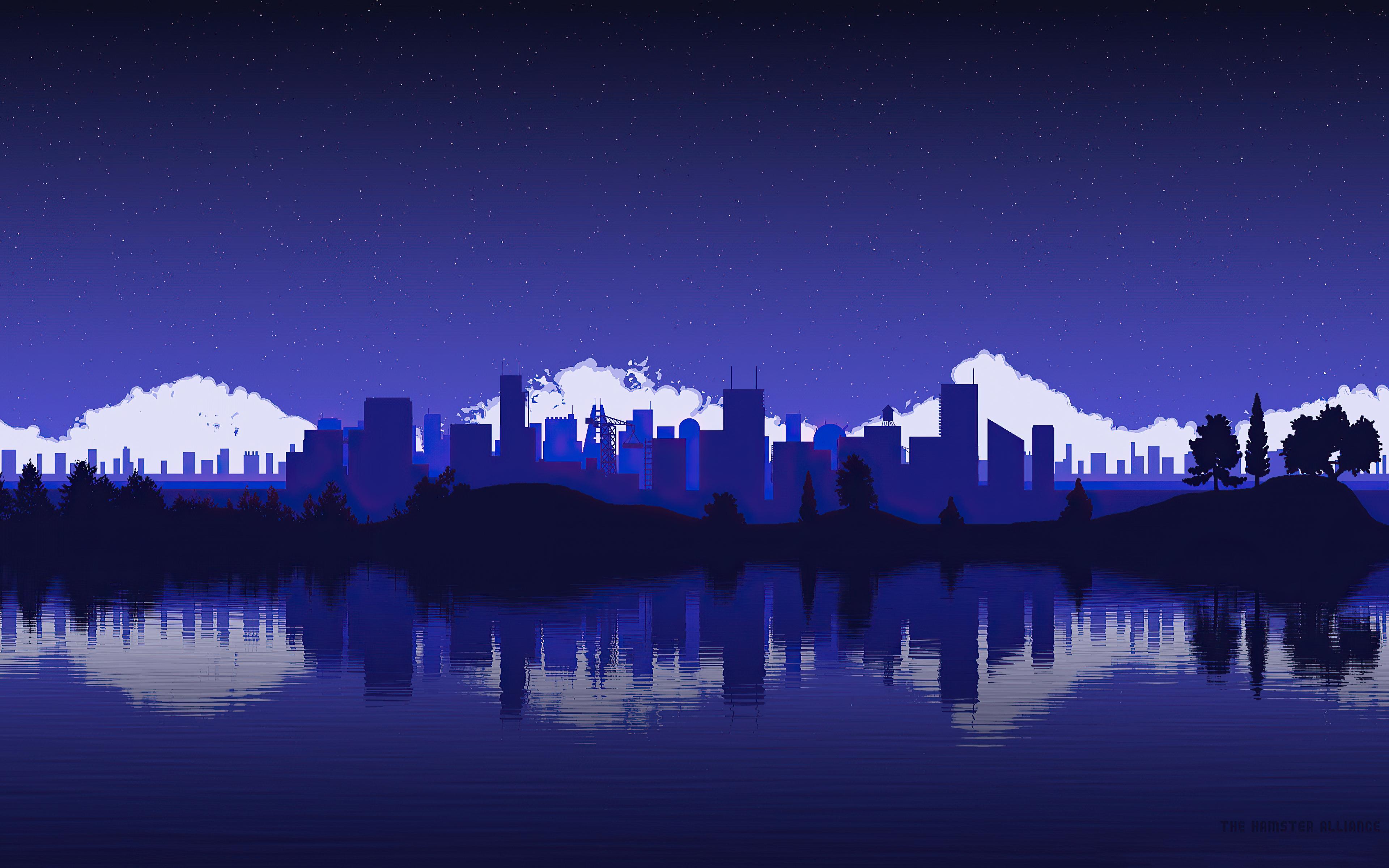 Artistic City Vector Blue 4k, HD Artist ...