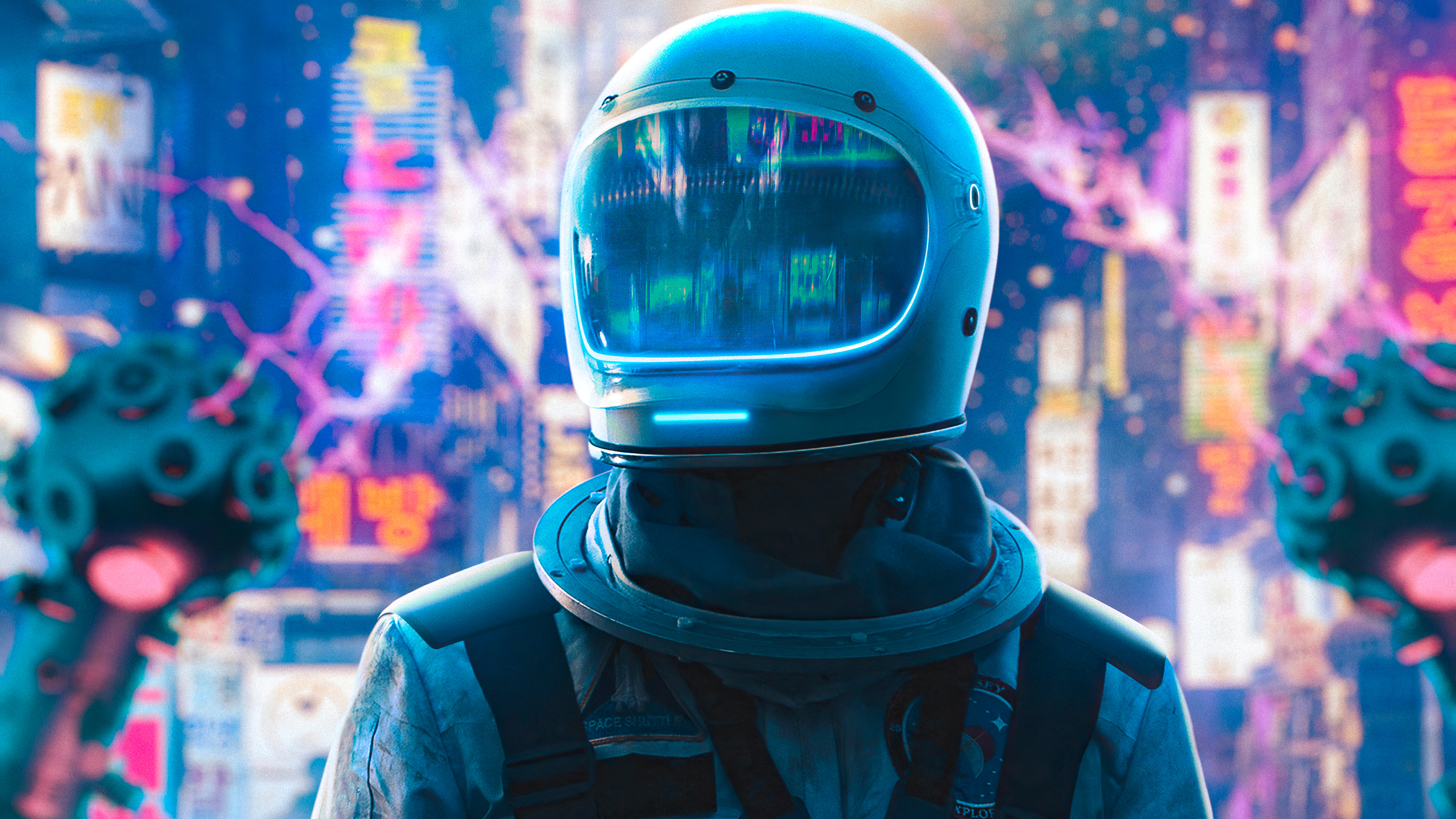 1366x768 Astronaut Alone In Neon City 4k 1366x768 Resolution Hd 4k Wallpapers Images Backgrounds Photos And Pictures