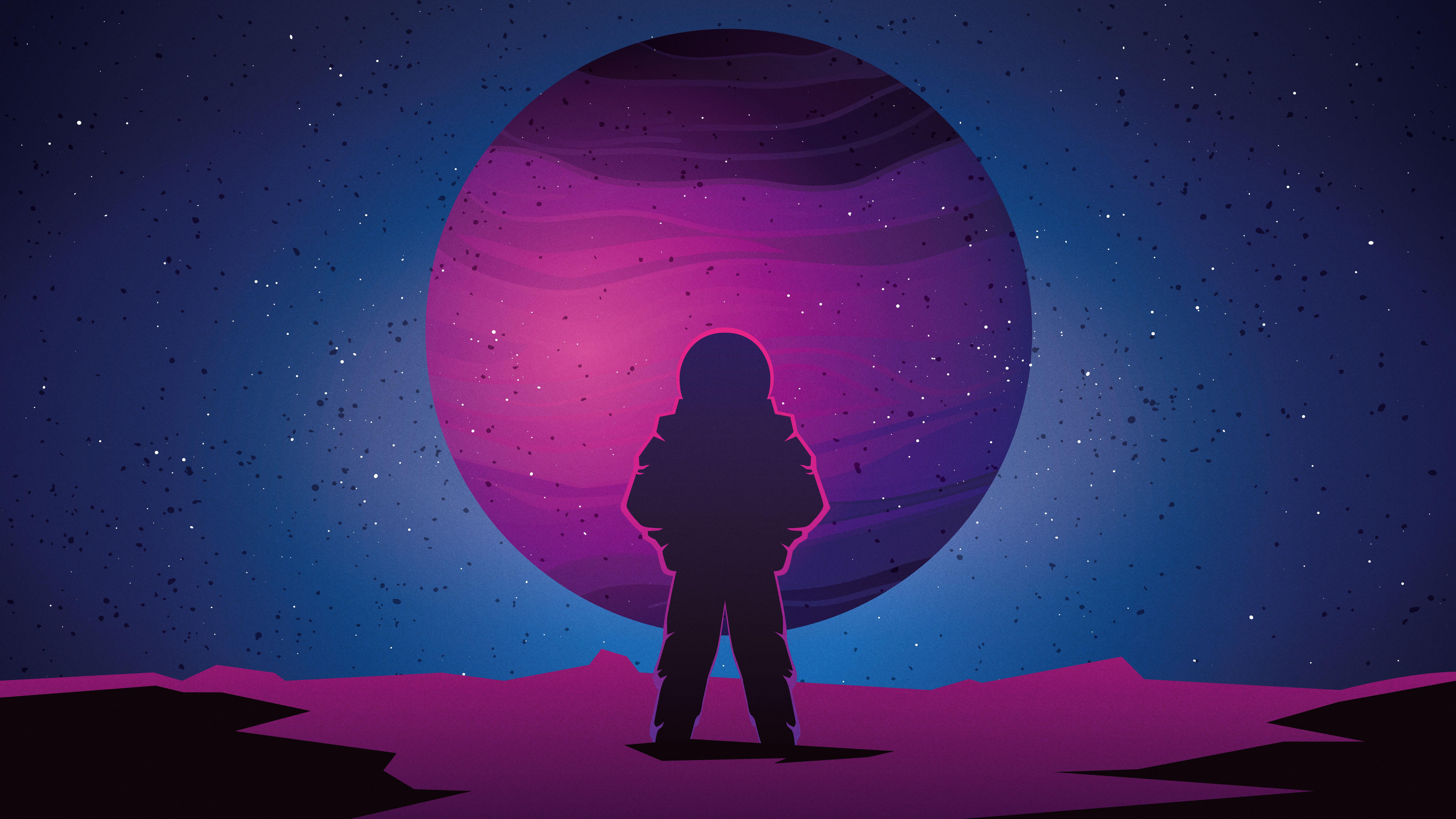 Astronaut Minimalist, HD Artist, 4k