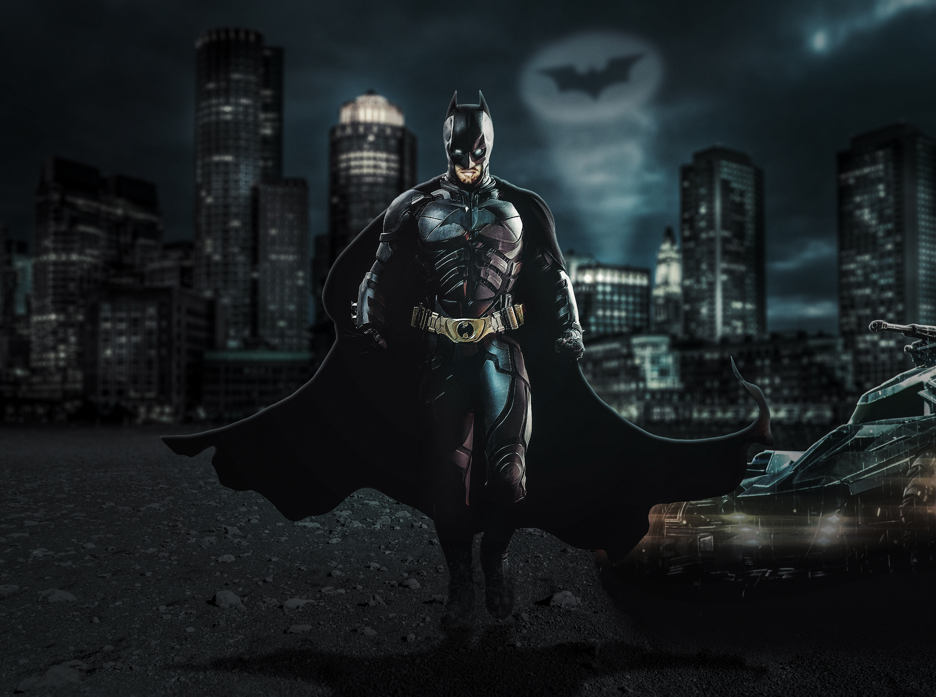 2048x1152 Batman The Dark Knight With Batmobile 4k 2048x1152