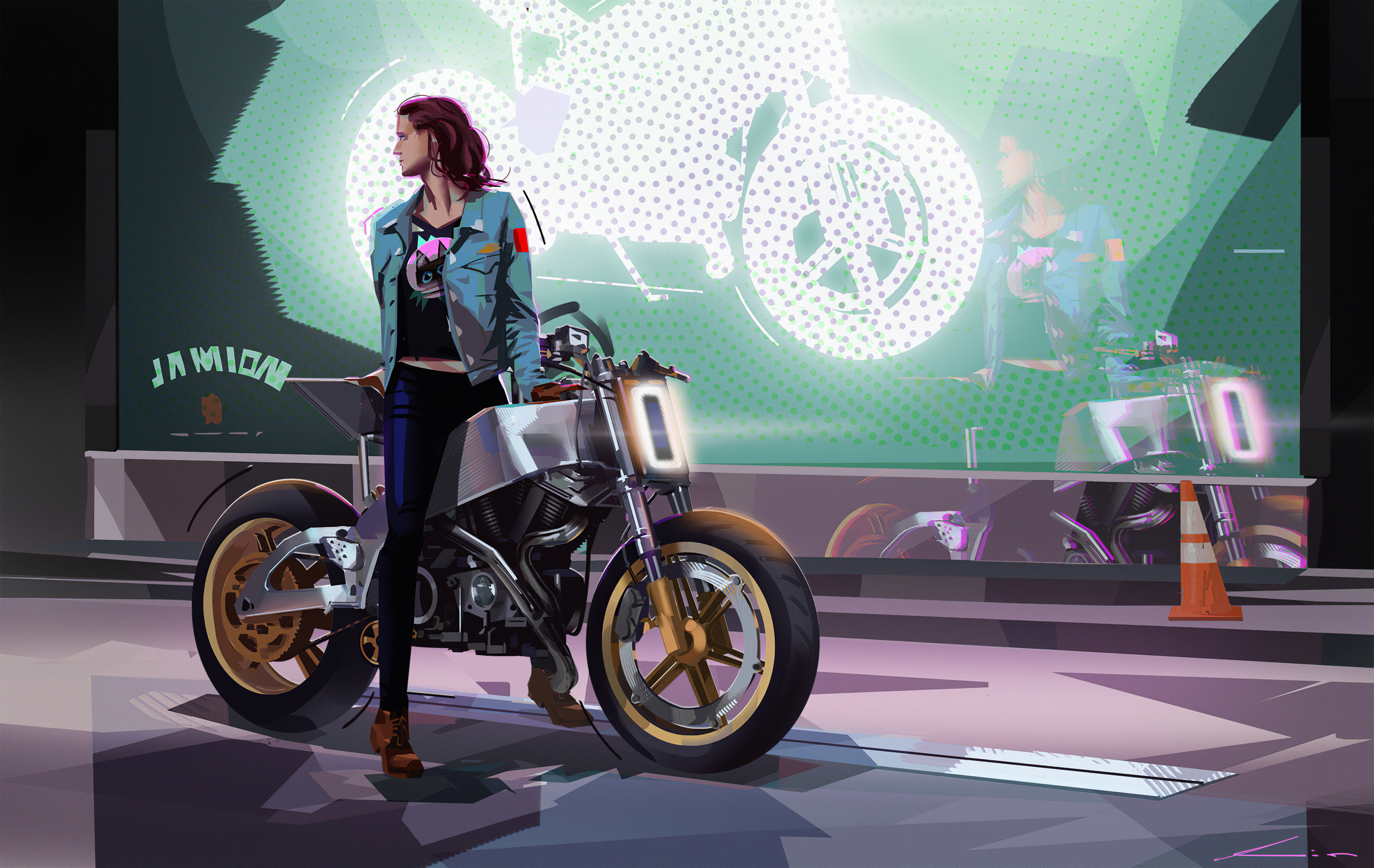 Bike Rider Girl 4k Hd Artist 4k Wallpapers Images Backgrounds Photos And Pictures