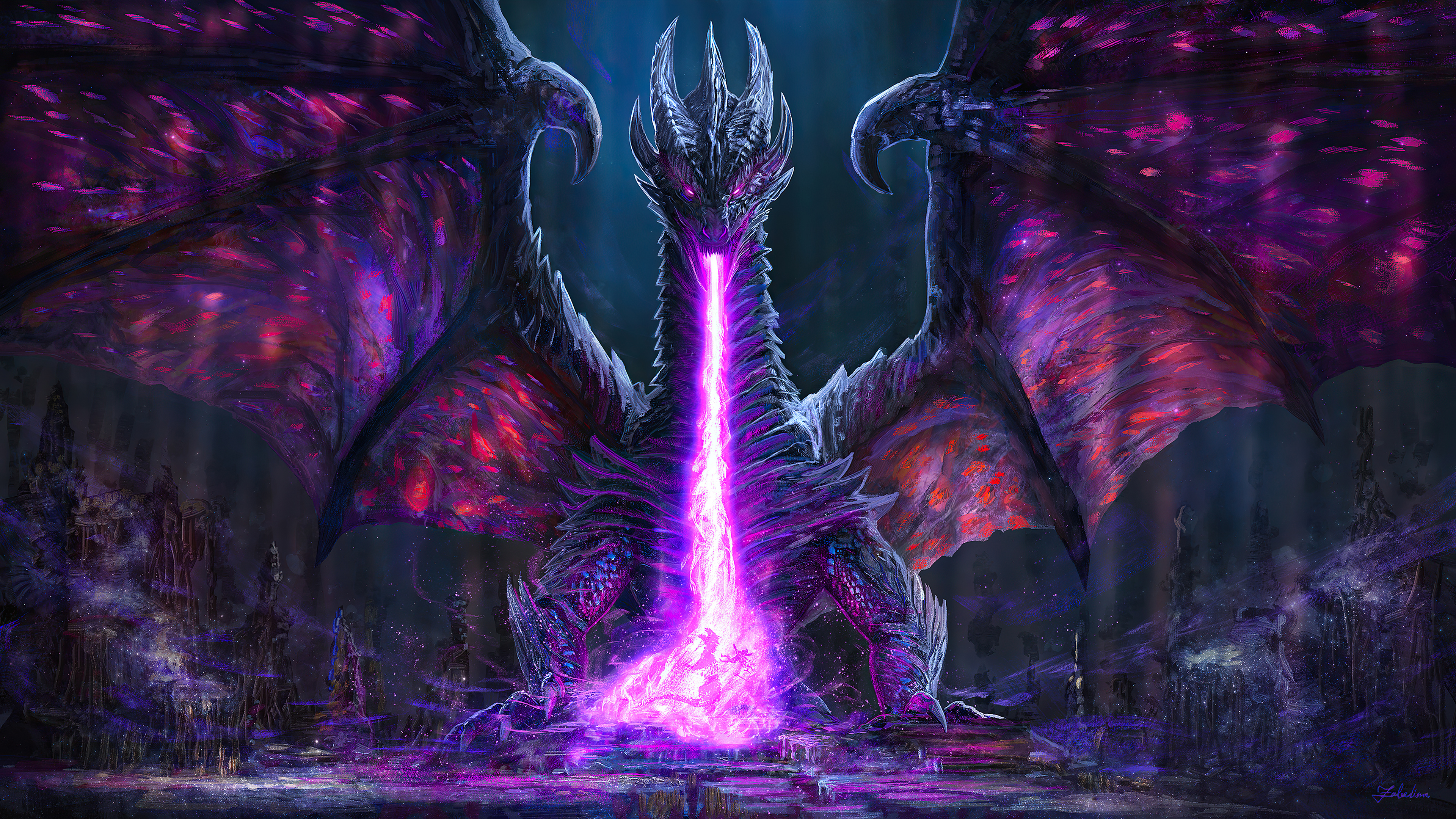 Black Dragon Breath Battle 4k Hd Artist 4k Wallpapers Images Backgrounds Photos And Pictures