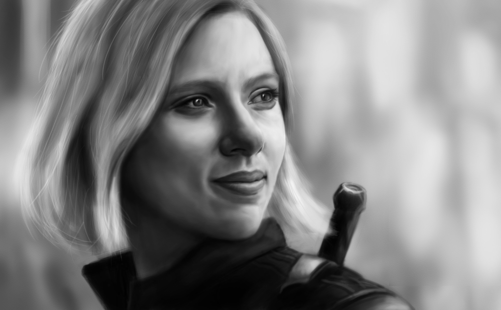 Black Widow In Avengers Infinity War 2018 Artwork Monochrome