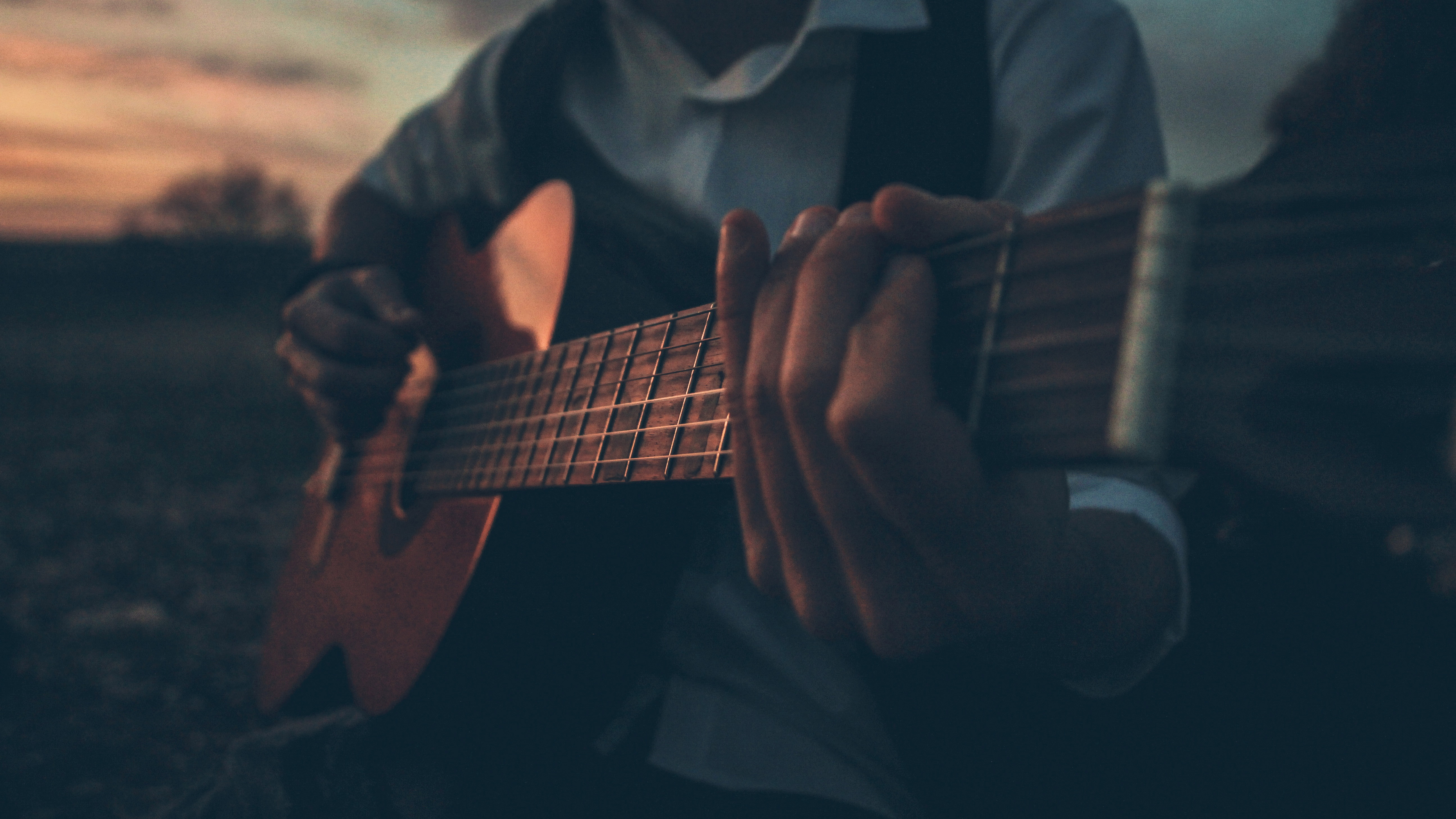 Boy Playing Guitar Outdoors 5k Hd Photography 4k Wallpapers Images Backgrounds Photos And Pictures