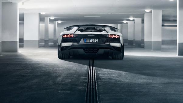 Full HD Lamborghini Aventador Sv Rear Wallpaper