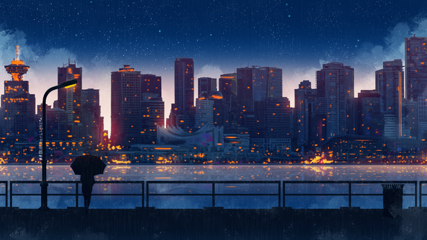 Anime city lights night rain umbrella sky 5k hd artist - 5k anime wallpaper ...