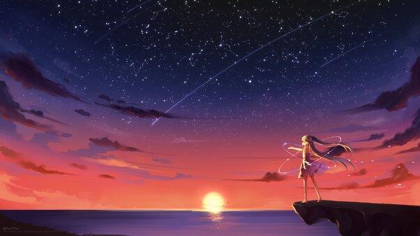 Anime Girl Barefoot Blonde Sky Stars Sunset 4k Hd Anime 4k