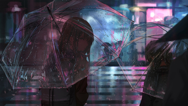 Anime Girl In Rain With Umbrella 4k Hd Anime 4k Wallpapers