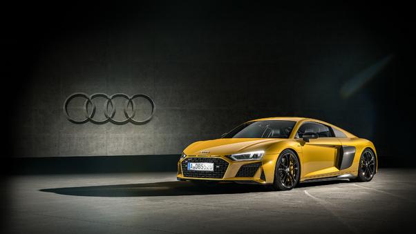 Full HD Audi R8 Yellow 4k Wallpaper