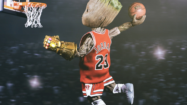 Baby Groot Playing Basketball Hd Superheroes 4k Wallpapers