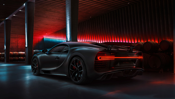 Full HD Black Bugatti Chiron 2020 Rear Wallpaper