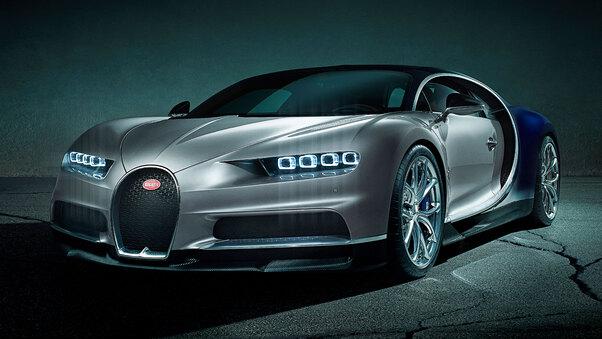 Full HD Black Bugatti Chiron 2020 Wallpaper