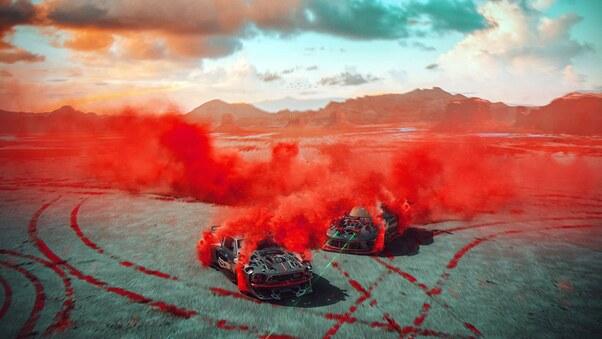Full HD Cars Red Smoke Desert Laser Race Wallpaper