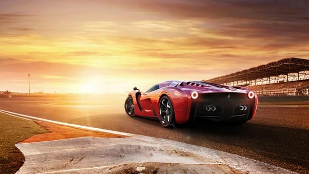 Full HD Ferrari Sp38 Side View 4k Wallpaper