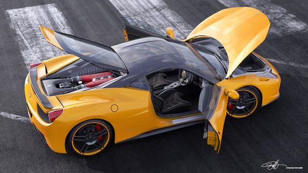 Full HD Ferrari Italia 458 Yellow Wallpaper