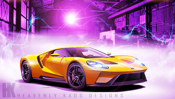 Full HD Ford Gt At Track Wallpaper