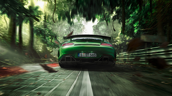 Full HD Green Mercedes Benz Amg Gt R 2018 Rear Wallpaper