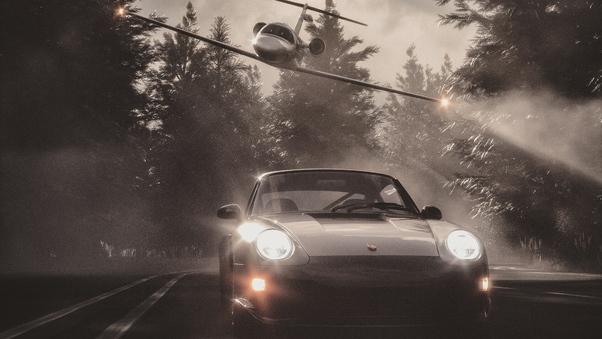 Full HD Jet Chasing Porsche Wallpaper