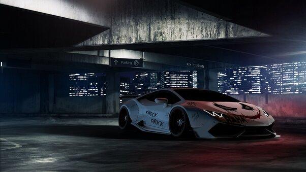Full HD Joker Inspired Aventador Wallpaper