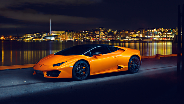 Full HD Lamborghini Huracan Lp580 Night Photoshoot Wallpaper