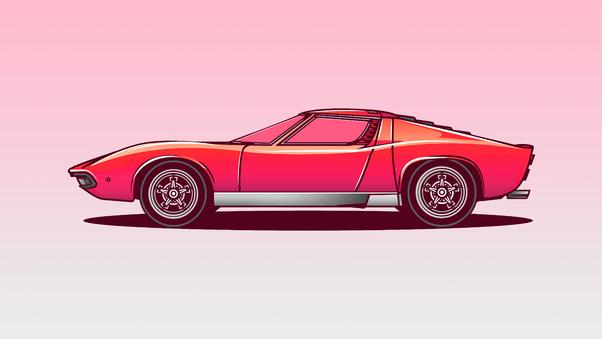 Lamborghini Miura Vector Illustration 5k Hd Artist 4k Wallpapers
