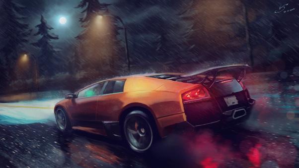 Full HD Lamborghini Murcielago Sv Digital Art Wallpaper