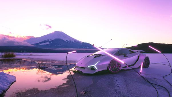 Full HD Blue Lamborghini Huracan Rear 4k Wallpaper