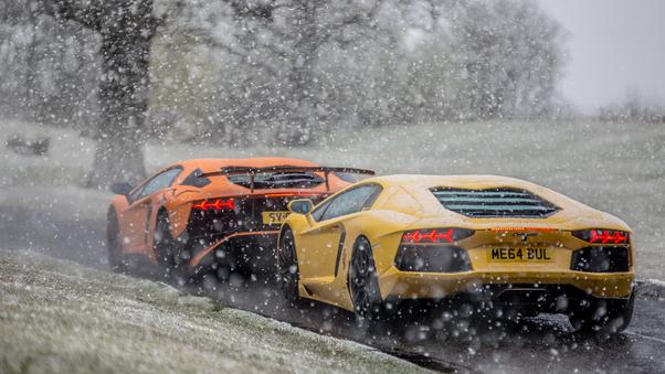 Full HD Lambos In The Snow Wallpaper