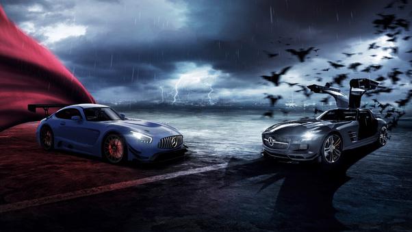 Full HD Mercedes Amg Gt Superman And Batman Wallpaper