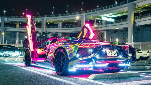 Full HD Neon Lights Lamborghini Wallpaper