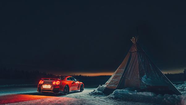 Full HD Nissan Gtr Camping 4k Wallpaper