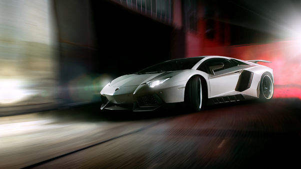 Full HD Grey Lamborghini Car Front Wallpaper