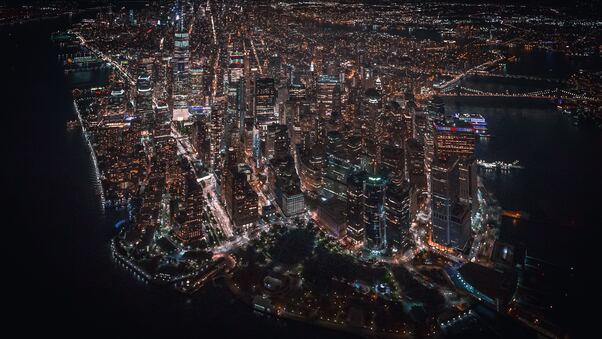nyc downtown helicopter view 4k 7r