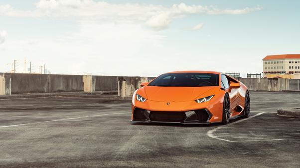 Full HD Orange Lamborghini Huracan 8k 2018 Wallpaper