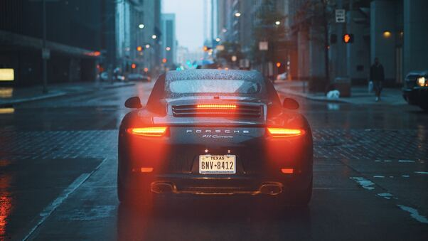Full HD Porsche 911 Carrera Talilights Bokeh Rain City Wallpaper