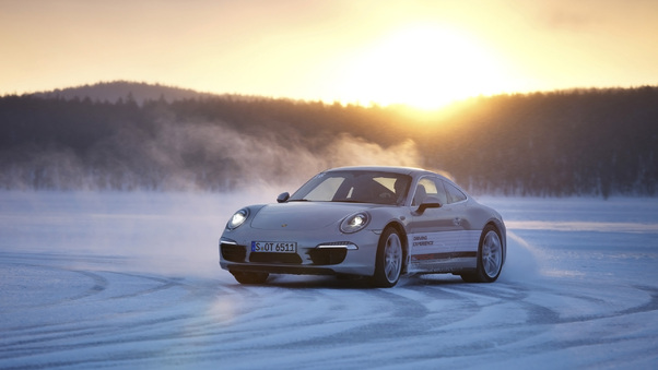 Full HD Porsche White On Road Wallpaper