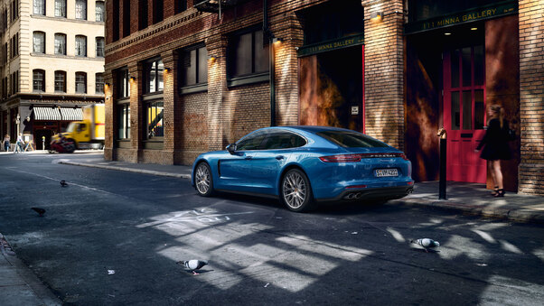 Full HD Porsche Panamera Turbo S E Hybrid Sport Turismo Rear Wallpaper