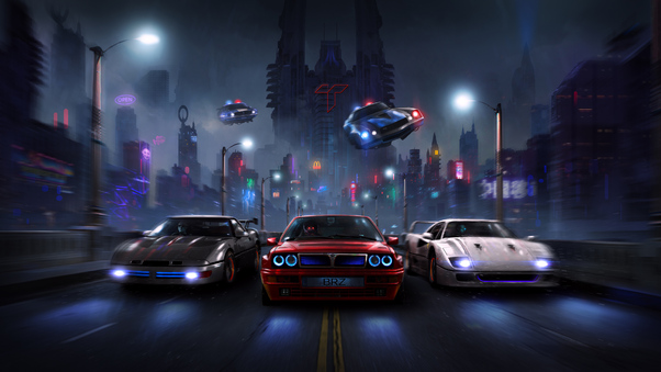 Full HD Racers Night Chase 4k Wallpaper
