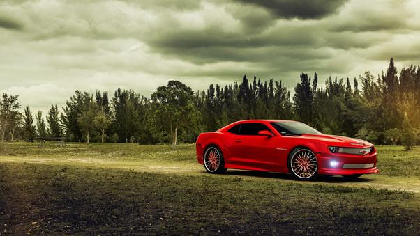 Full HD Red Chevrolet Camaro Wallpaper