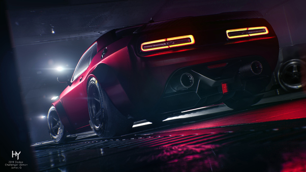 Full HD Black Dodge Challenger 5k Wallpaper